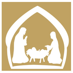 White Nativity Creche Banners