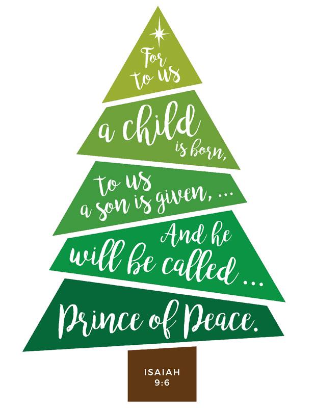 Bible Verses For Christmas.Scripture Christmas Tree