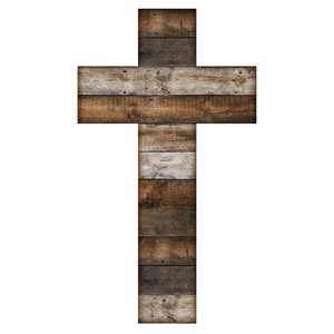 Stained Wood Cross StickUp