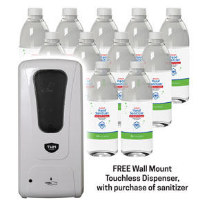Case of 12 1-Liter Sanitizer Bottles with Free Wall Dispenser SpecialtyItems