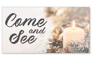 Christmas Eve Snowy Candle Come and See Social Media Ad Packages