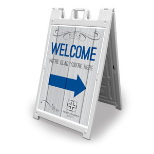 Painted Wood Welcome 2' x 3' Street Sign Banners