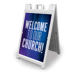 Aurora Lights Welcome To Our Church 2' x 3' Street Sign Banners