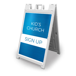 Blue Kids Church Sign Up 2' x 3' Street Sign Banners