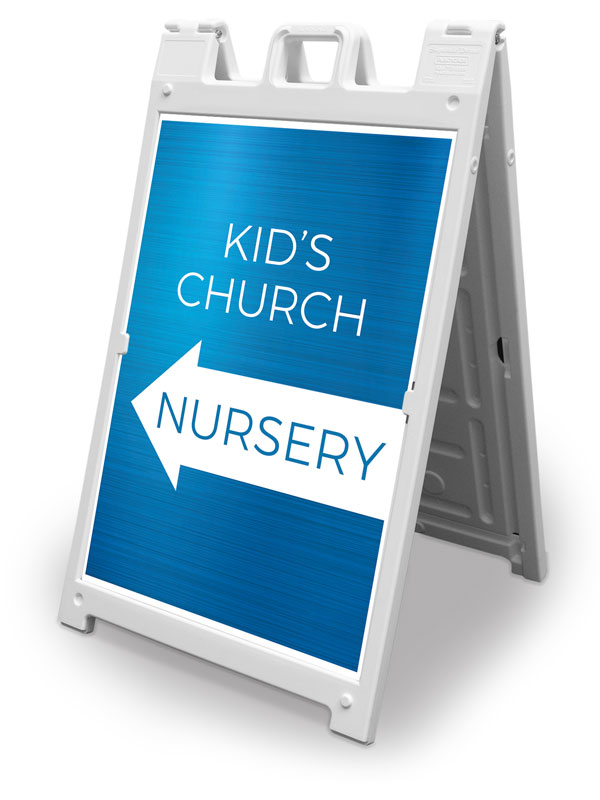 Banners, Directional, Blue Kids Church Nursery, 2' x 3'