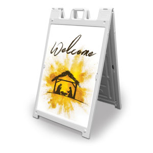 Gold Powder Creche Welcome 2' x 3' Street Sign Banners