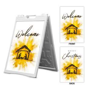 Gold Powder Creche Welcome Merry Christmas 2' x 3' Street Sign Banners