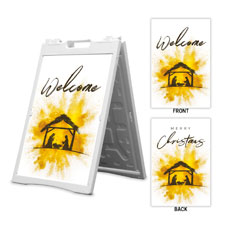 Gold Powder Creche Welcome Merry Christmas