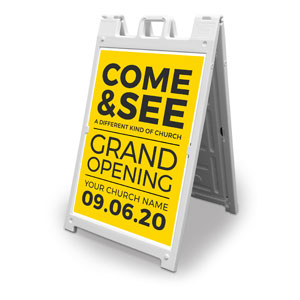 Yellow Grand Opening 2' x 3' Street Sign Banners