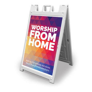 Geometric Bold Worship From Home 2' x 3' Street Sign Banners