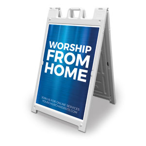 General Blue Worship From Home 2' x 3' Street Sign Banners