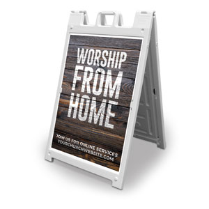 Dark Wood Worship From Home 2' x 3' Street Sign Banners