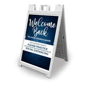 Blue Grunge Welcome Back Distancing 2' x 3' Street Sign Banners