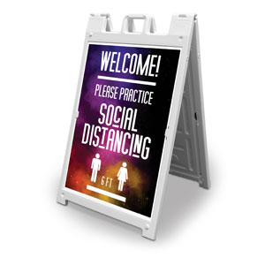 Dark Smoke Welcome Back Distancing 2' x 3' Street Sign Banners