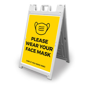 Yellow Face Mask 2' x 3' Street Sign Banners