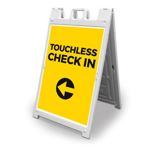 Yellow Touchless Check In 2' x 3' Street Sign Banners