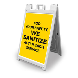 Yellow We Sanitize 2' x 3' Street Sign Banners