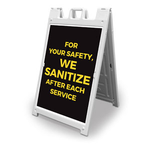Jet Black We Sanitize 2' x 3' Street Sign Banners