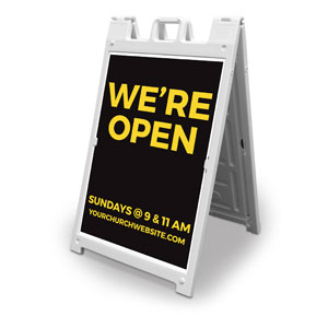 Jet Black We're Open 2' x 3' Street Sign Banners