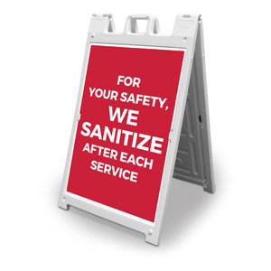 Red We Sanitize 2' x 3' Street Sign Banners