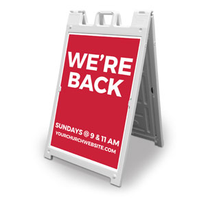 Red We're Back 2' x 3' Street Sign Banners