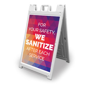 Geometric Bold We Sanitize 2' x 3' Street Sign Banners