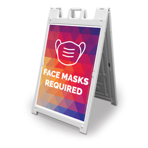 Geometric Bold Face Masks Required 2' x 3' Street Sign Banners