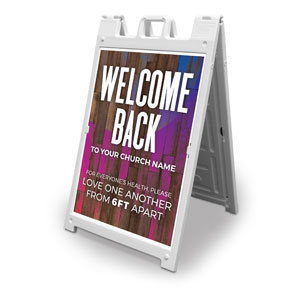 Colorful Wood Welcome Back Distancing 2' x 3' Street Sign Banners
