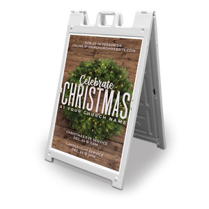 Celebrate Christmas Wreath 2' x 3' Street Sign Banners