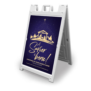 Christmas Star Savior Is Born 2' x 3' Street Sign Banners