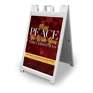 Peace Be With You Red 2' x 3' Street Sign Banners