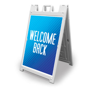 Retro Geo Blue Welcome Back 2' x 3' Street Sign Banners