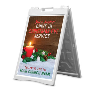Drive In Christmas Candle 2' x 3' Street Sign Banners