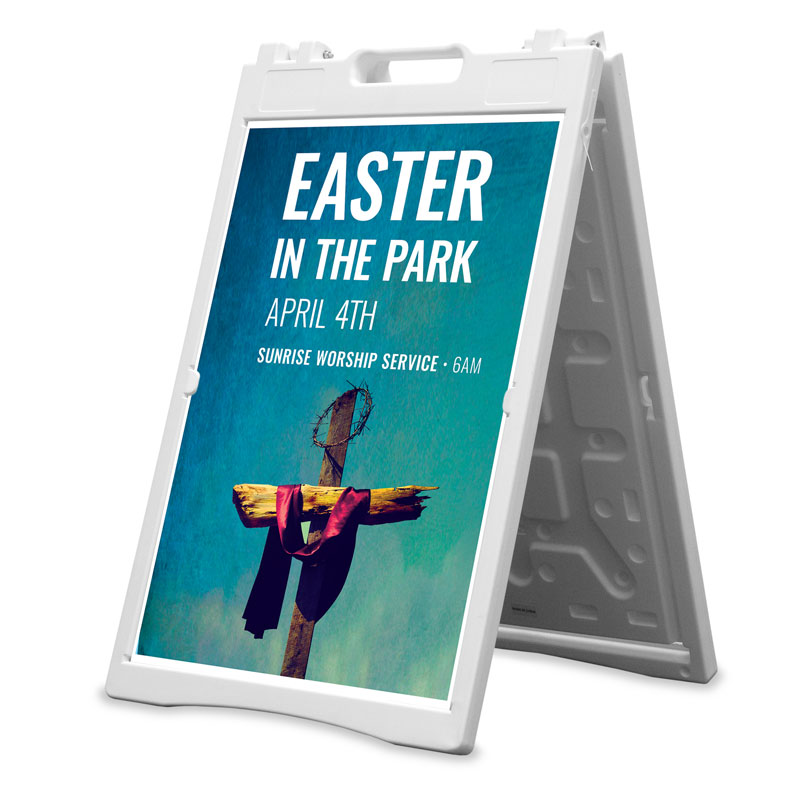 Banners, Easter, Easter In Park Blue, 2' x 3'