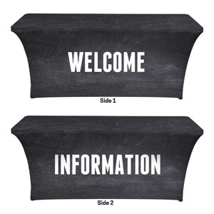 Slate Welcome Information Stretch Table Covers