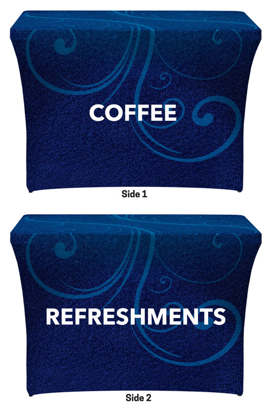 Table Covers, Flourish Coffee Refreshments, 2' x 4'