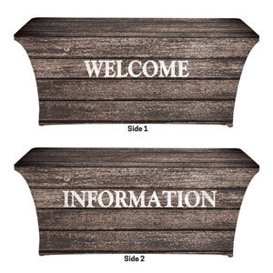 Rustic Charm Welcome Information Stretch Table Covers