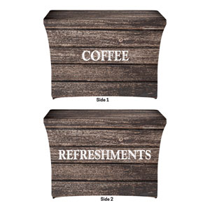 Rustic Charm Coffee Refreshments Stretch Table Covers