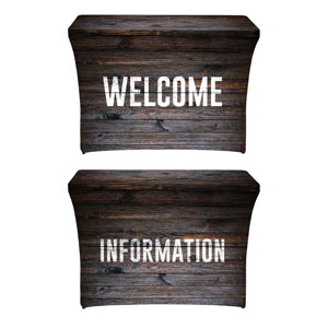 Dark Wood Welcome Information Stretch Table Covers