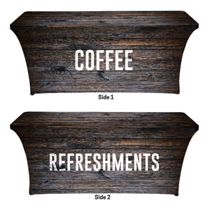 Dark Wood Coffee Refreshments Stretch Table Covers