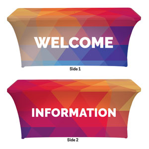 Geometric Bold Welcome Information Stretch Table Covers