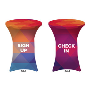 Geometric Bold Sign Up Check In Stretch Table Covers