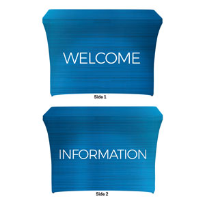 General Blue Welcome Information Stretch Table Covers