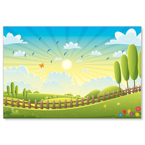 Bright Meadow Wall Scene Banners