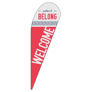 To Belong Red Teardrop Flag Banners