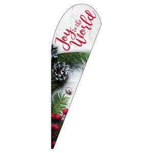 Joy To The World Snow Teardrop Flag Banners