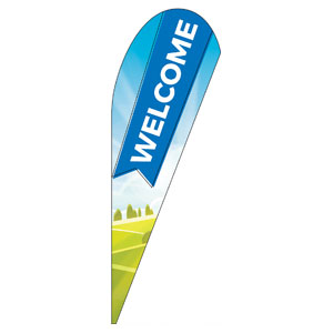 Bright Meadow Welcome Teardrop Flag Banners