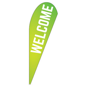 Welcome Lime Green Teardrop Flag Banners