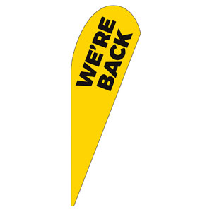 Yellow We're Back Teardrop Flag Banners