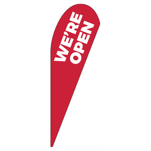 Red We're Open Teardrop Flag Banners